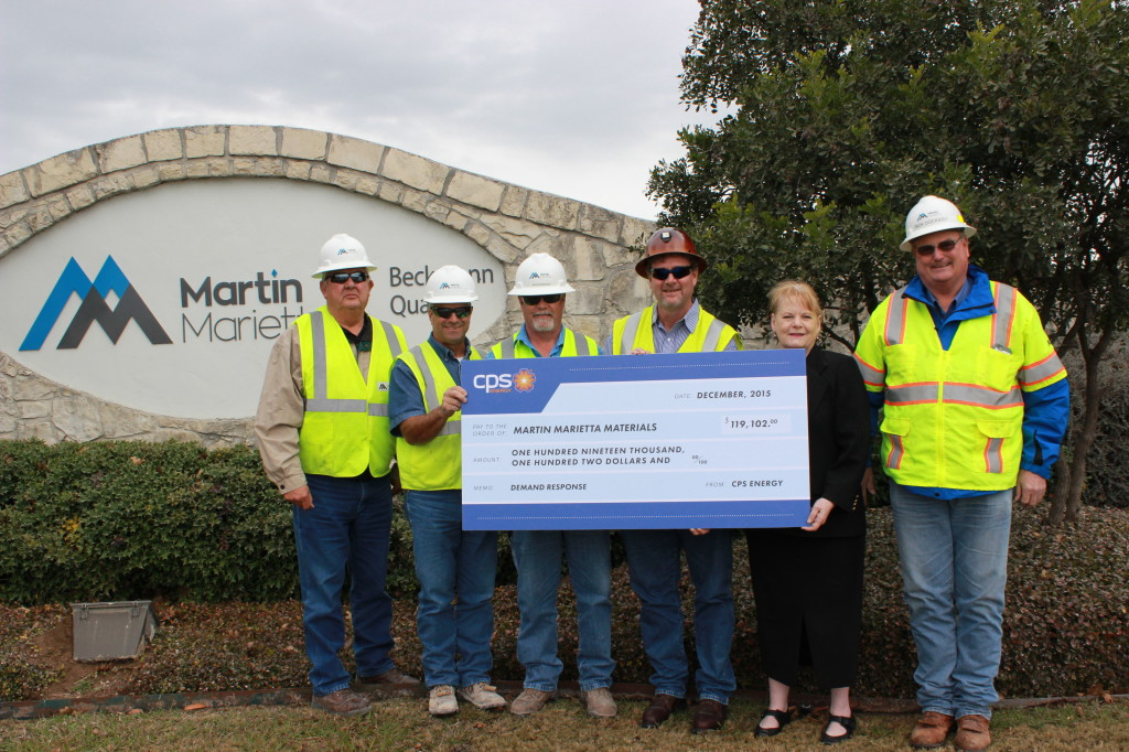 Martin Marietta is awarded check from CPS Energy for reducing energy usage.